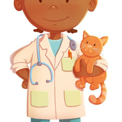 Children illustration Girl doctor