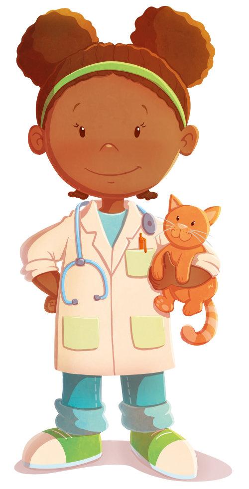 Children illustration Girl doctor