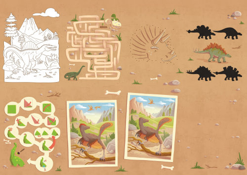 Children jungle map with dinosaurs