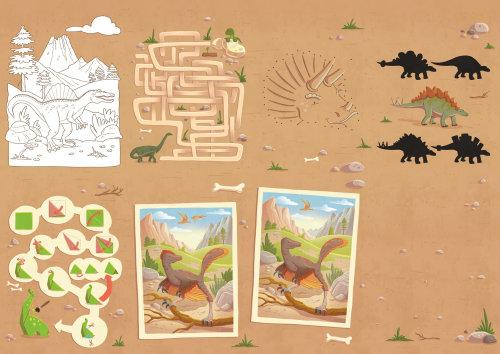 Carte de la jungle pour enfants avec des dinosaures