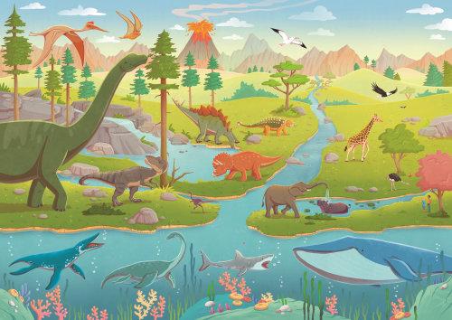 Children dinosaurs in jungle