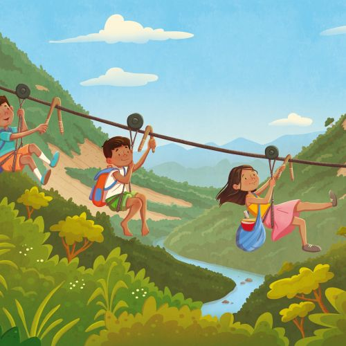 Children sliding through rope