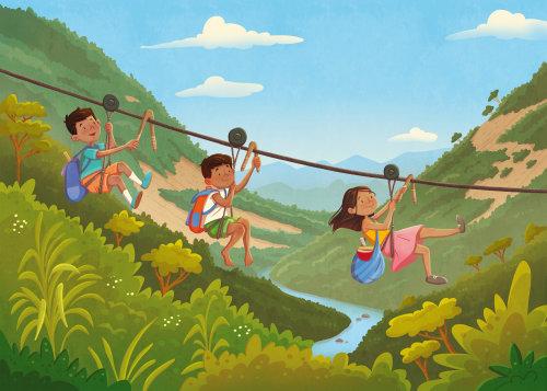 Children sliding through rope