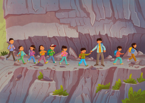 Children climbing mountain