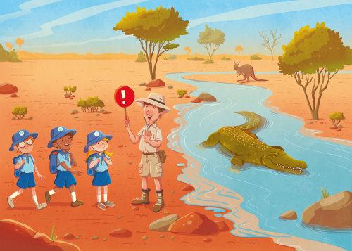 Enfants avec guide au lac aux crocodiles