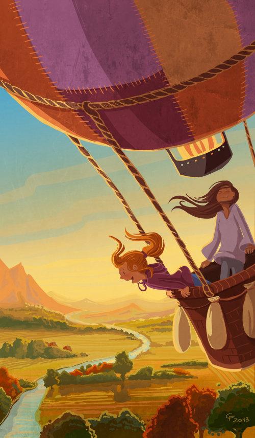 Children illustration girl in air balloon