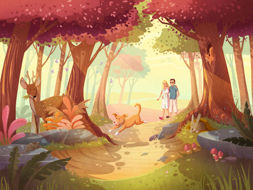 Children illustration of couple walking in jungle