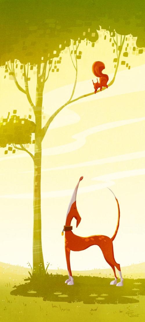 enfants, chien, regarder, écureuil, sur, arbre