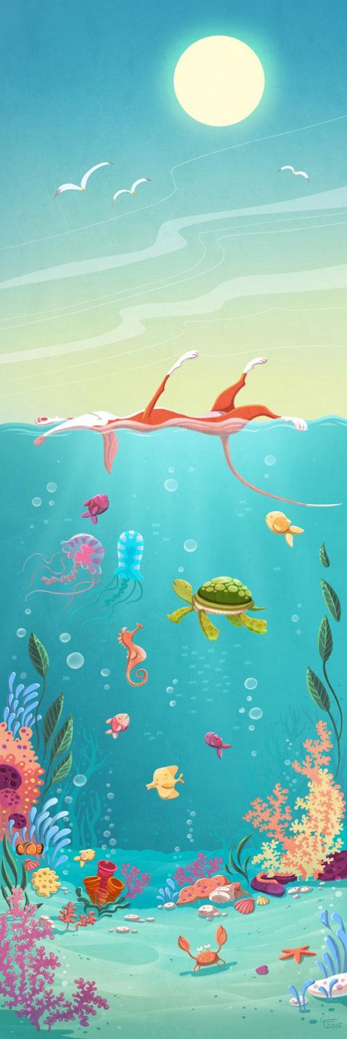 cihldren ilustration animaux dans l'océan