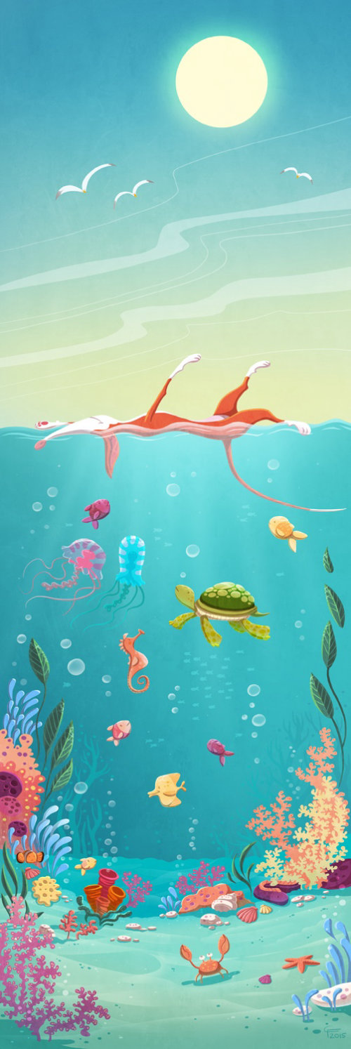cihldren ilustration animals in ocean