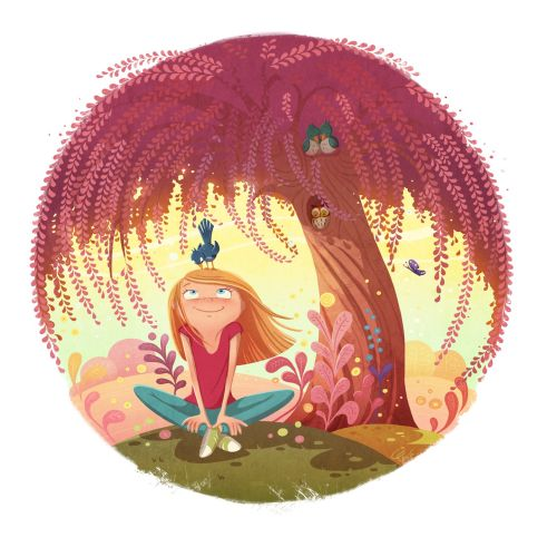 children illustration girl under red tree