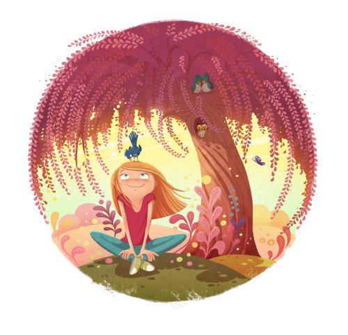 enfants illustration fille sous arbre rouge