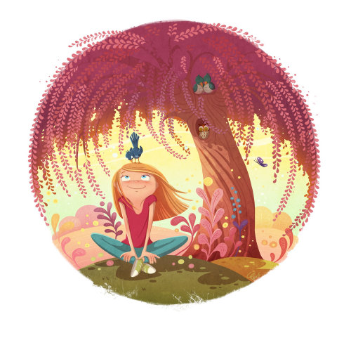 children illustration girl under red tree