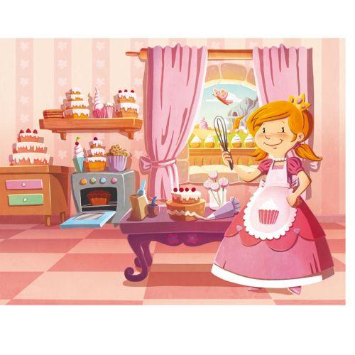Children illustration  girl in cake room