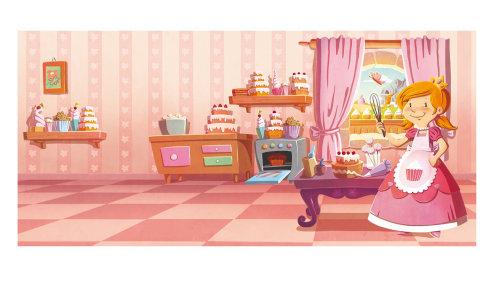 Fille illustration enfants dans la salle de gâteau