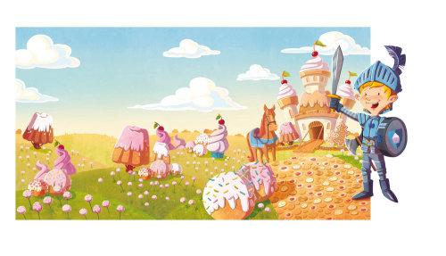 enfants illustration garçon chevalier dans un monde fantaisie