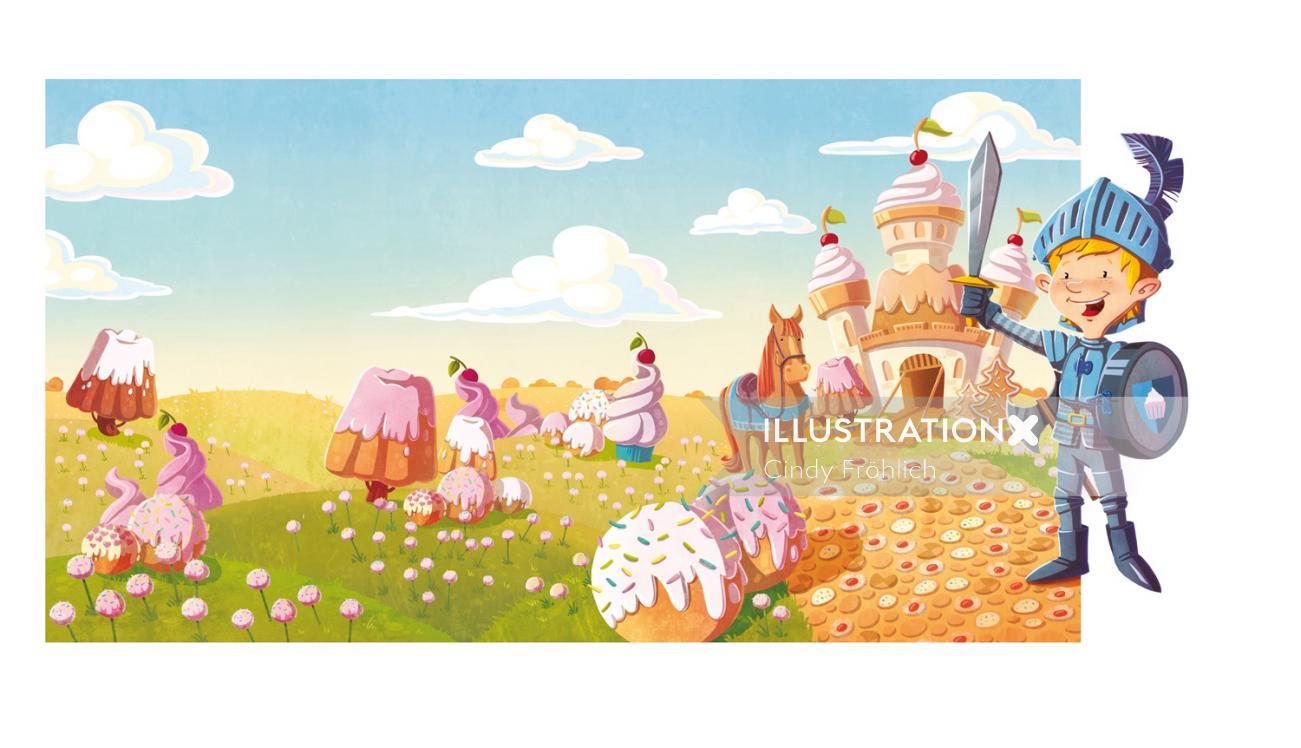 children illustration boy knight in fancy world