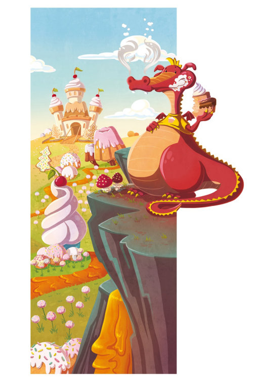 Children illustration dragon in cake world