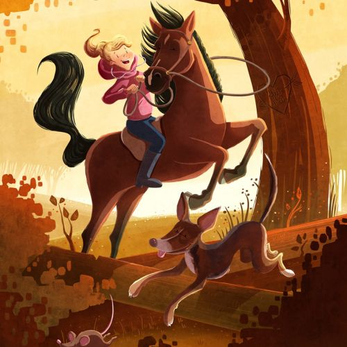 children illustration girl riding horse