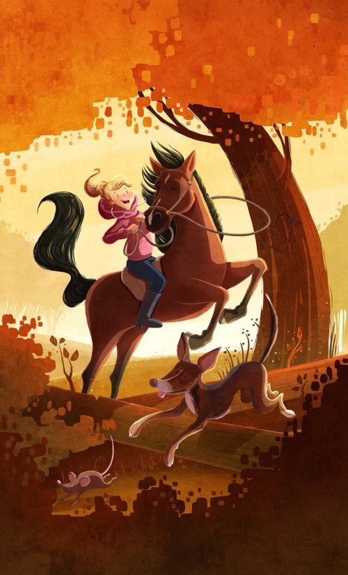 illustration des enfants fille à cheval