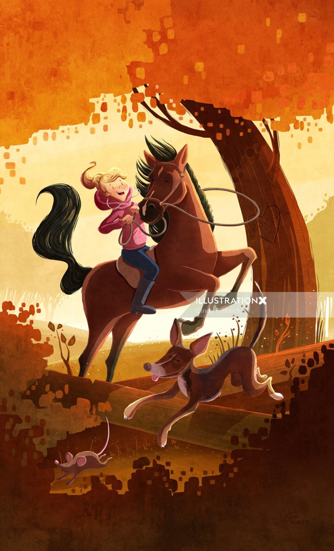 children illustration girl riding horse