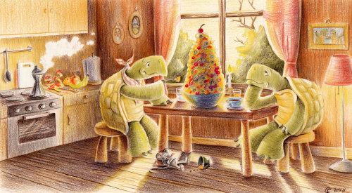 Illustration enfants tortues dans la cuisine