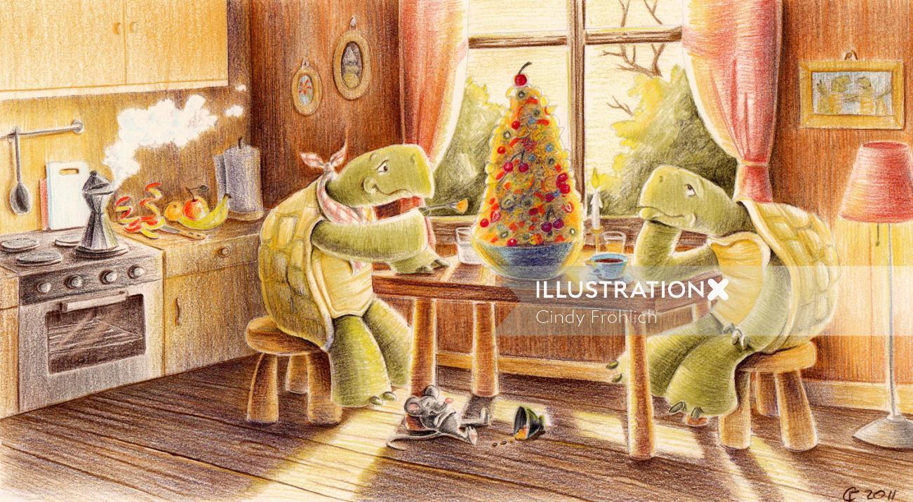 Children illustration turtles in kitchen