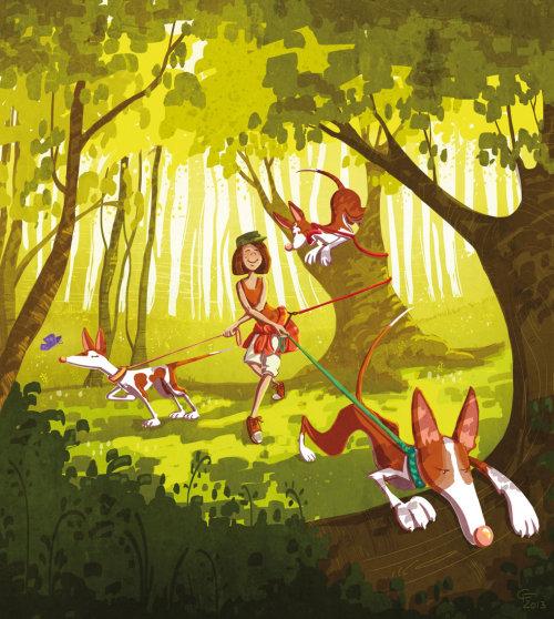 children illustration girl with dogs