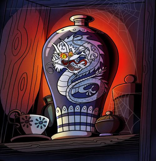 Children illustration dragon on vase