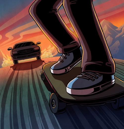 Graphic illustration of boy on skiboard