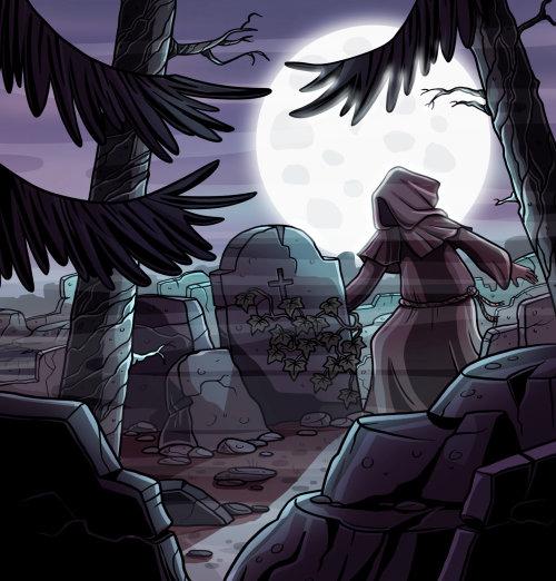 Children illustration boy in graveyard