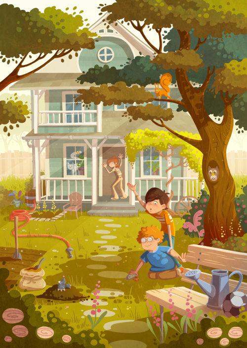 enfants illustration garçons jouant