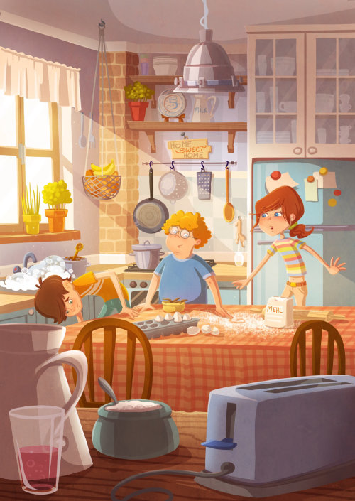 Graphic people in kitchen