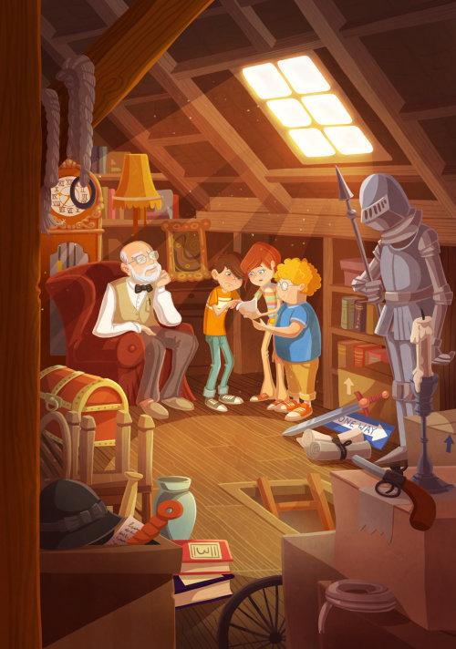 enfants illustration enfants avec vieil homme