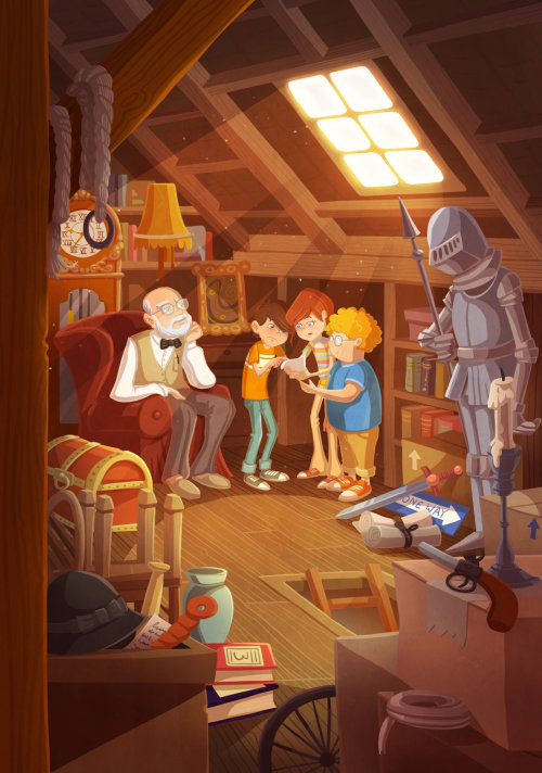 children illustration kids with old man