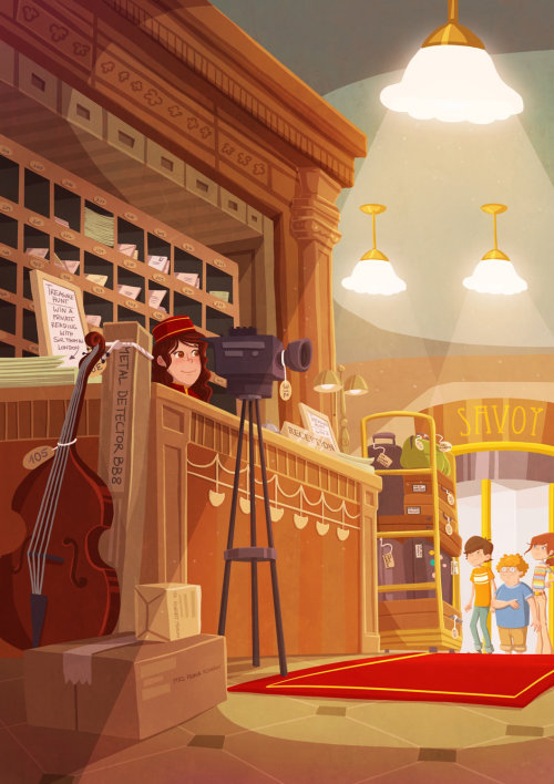 Graphic illustration of girl with camera and violin