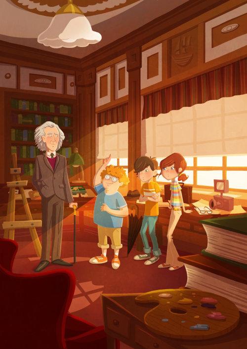 Children illustration kids with scientist