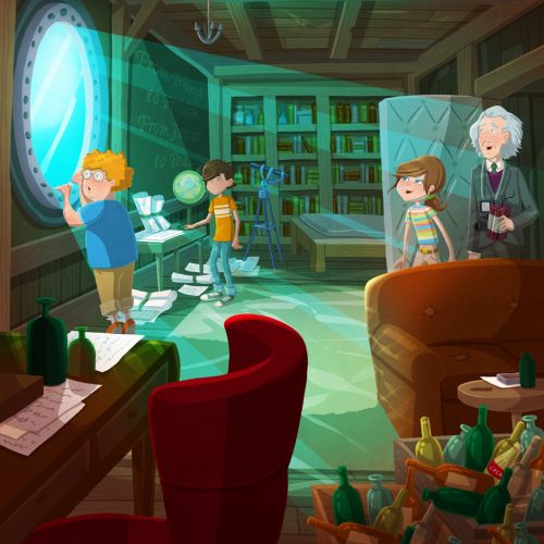 Children illustration kids in study room