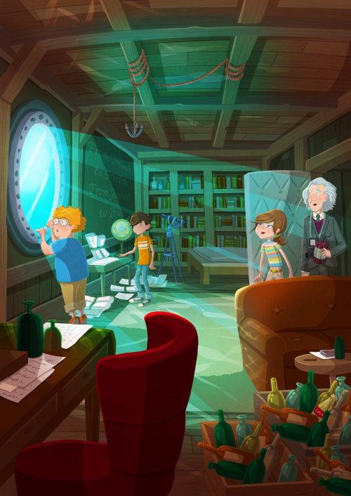 Enfants illustration enfants dans la salle d'étude