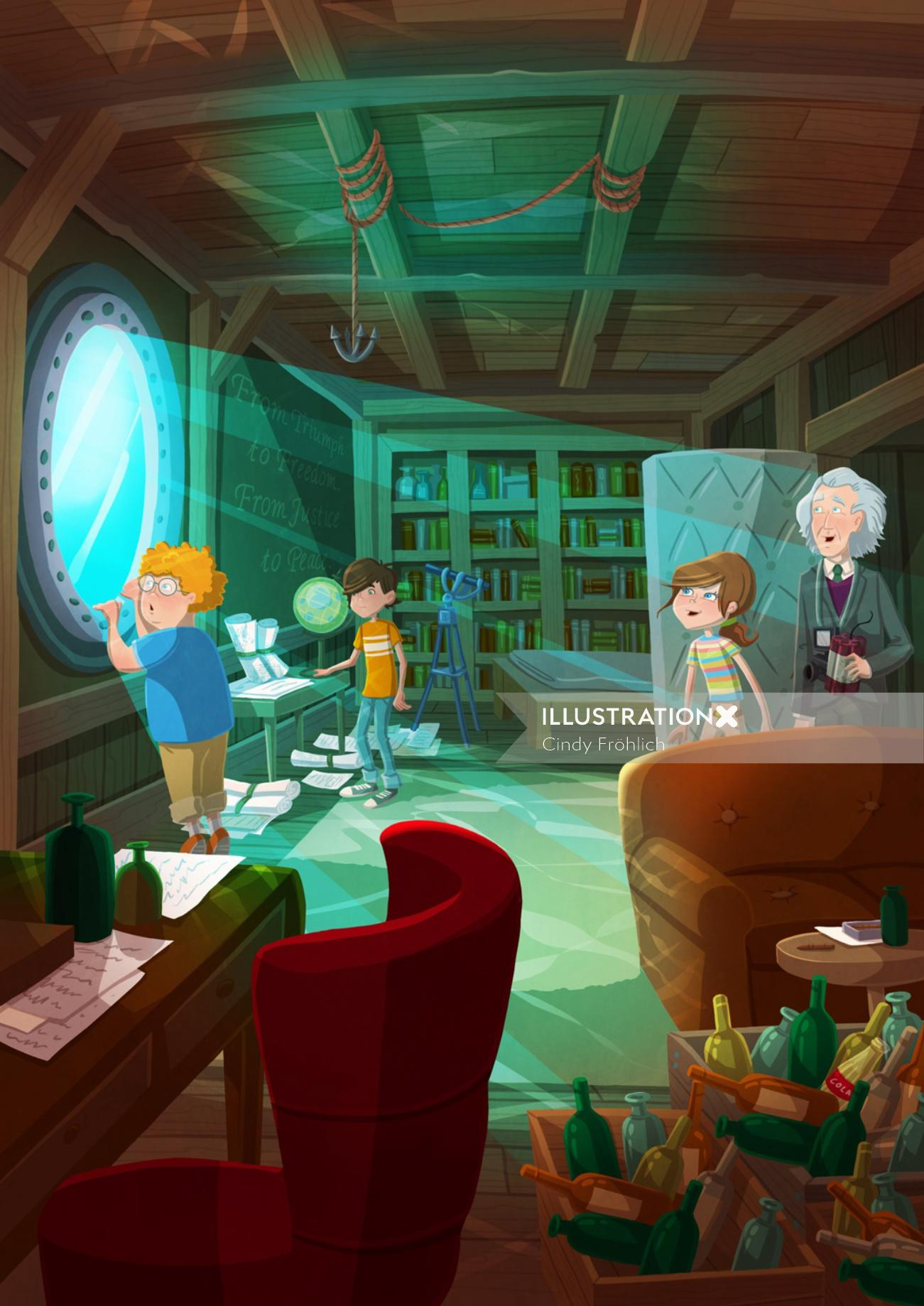 Children illustration kids in study room