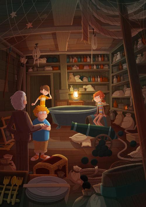 Children illustration in store room