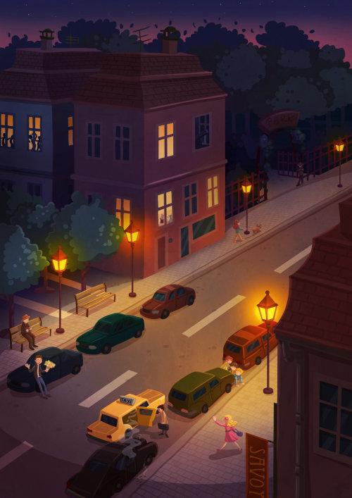 Children illustration city house