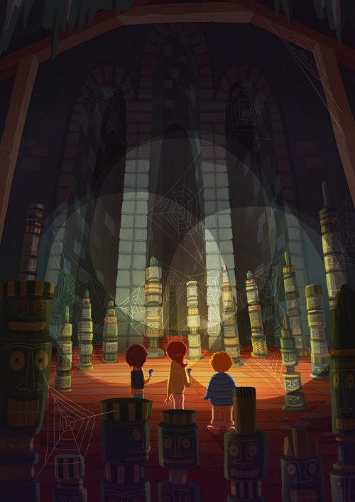 Enfants illustration enfants dans un endroit sombre