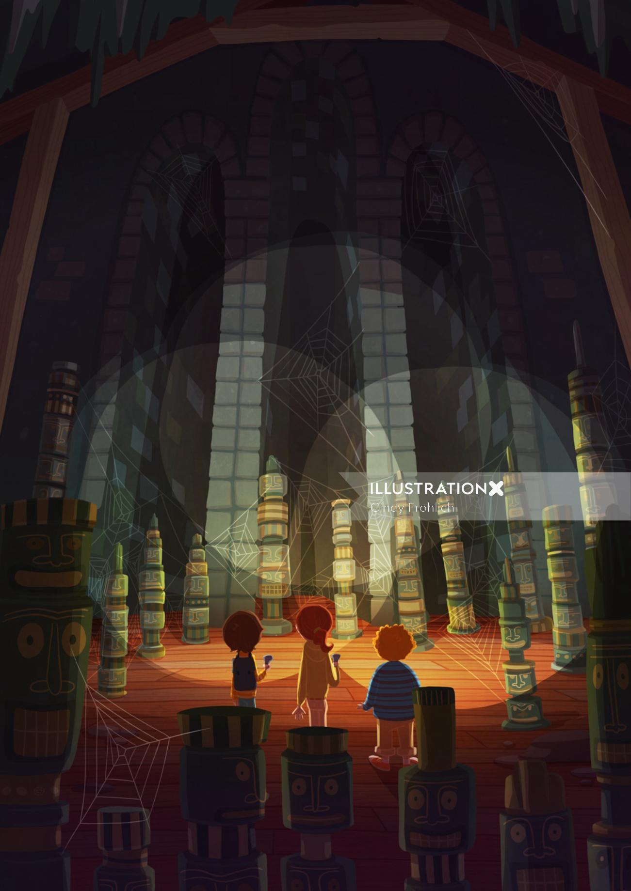 Children illustration kids in dark place