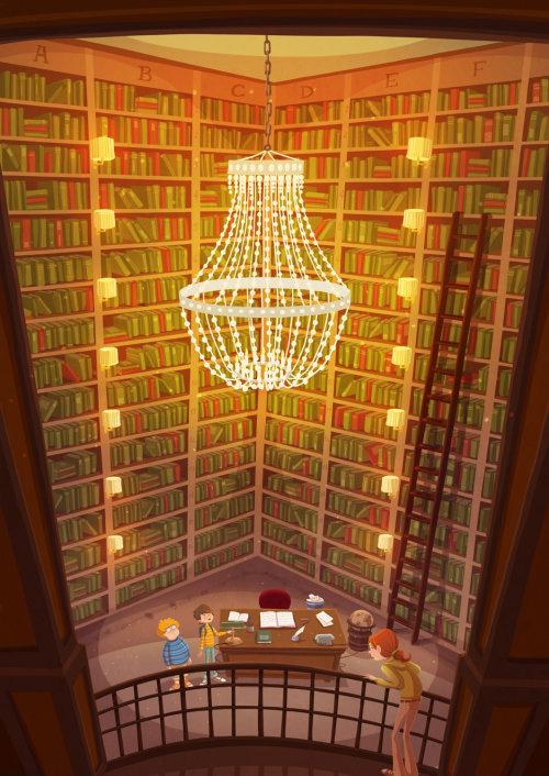 Illustration d'enfants shandlier dans la bibliothèque