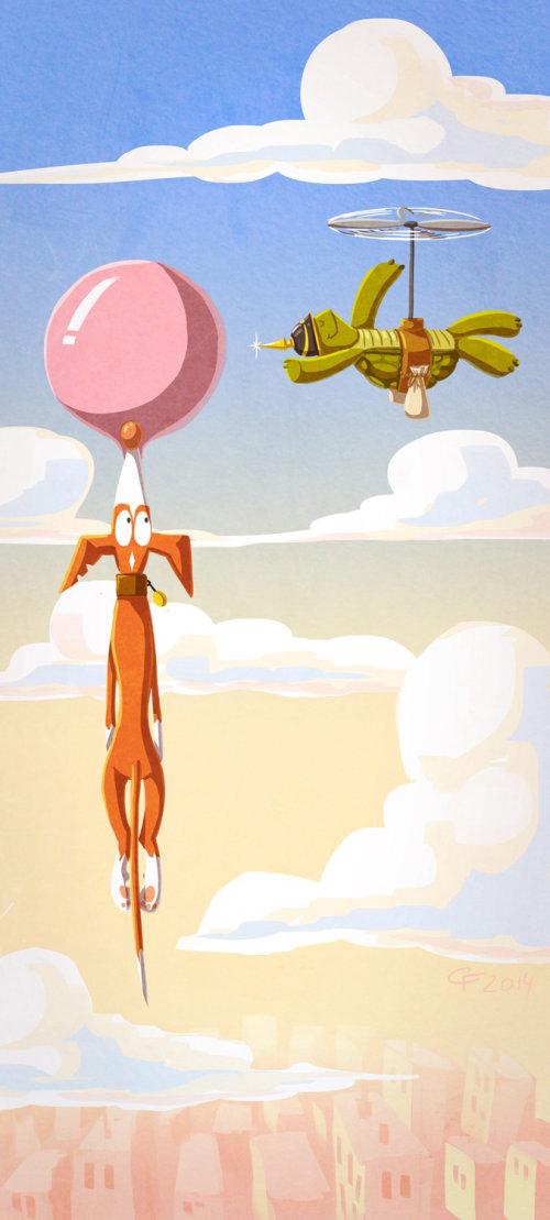 illustration pour enfants avec ballon volant