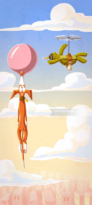 children illustration do with flying ballloon