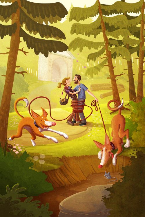 Couple avec des chiens en forêt