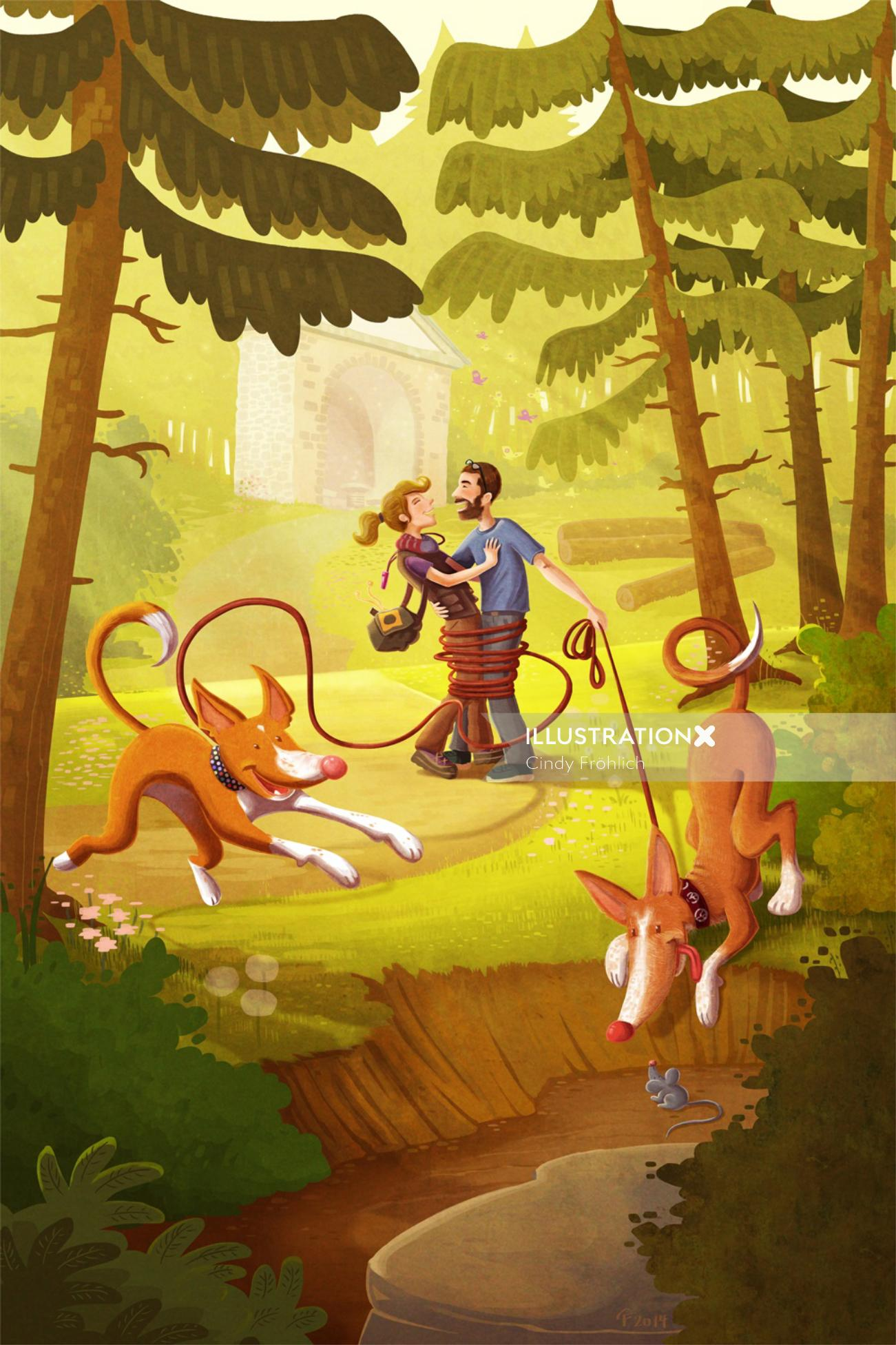 Couple with dogs in forest
