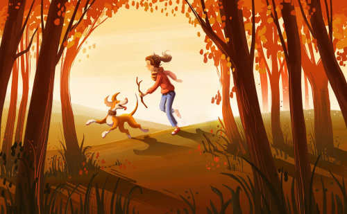 Children illustration girl playing with dog
